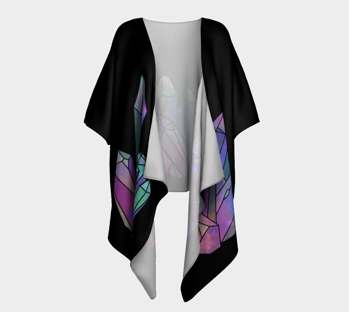Cosmic Crystals Unicorn Rainbow Aura Kimono Black preview