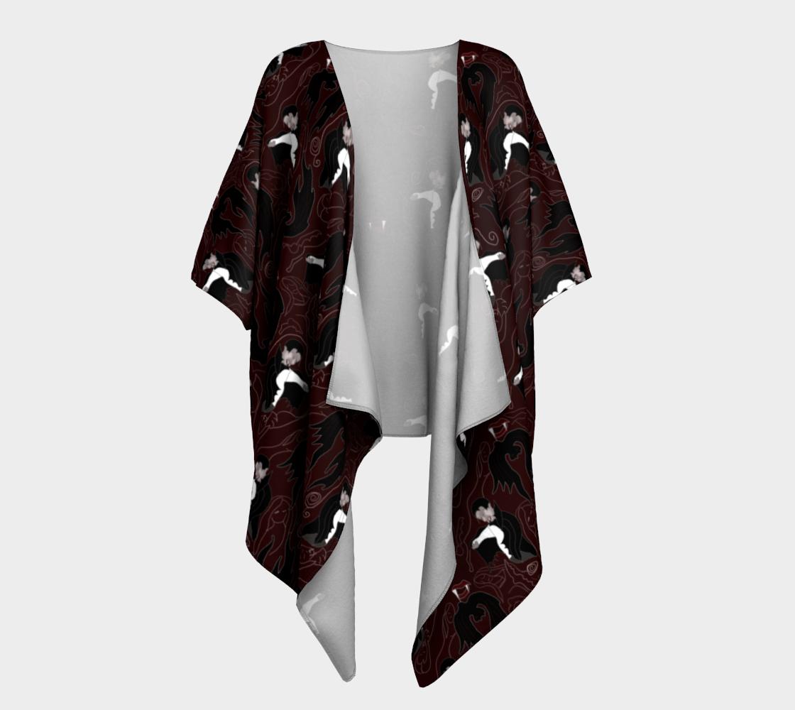 Aperçu de Vampire Pattern Draped Kimono