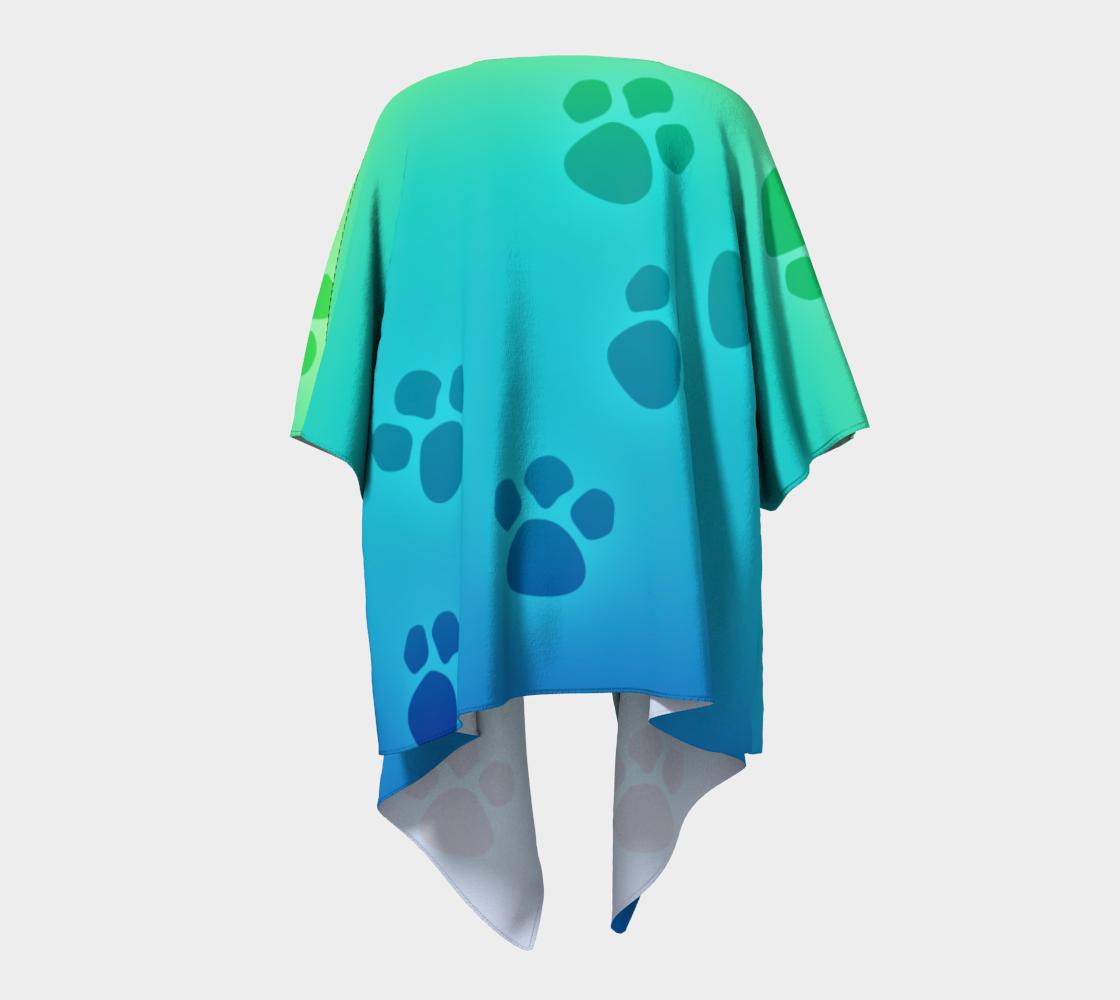 paw prints green to blue draped kimono preview #4