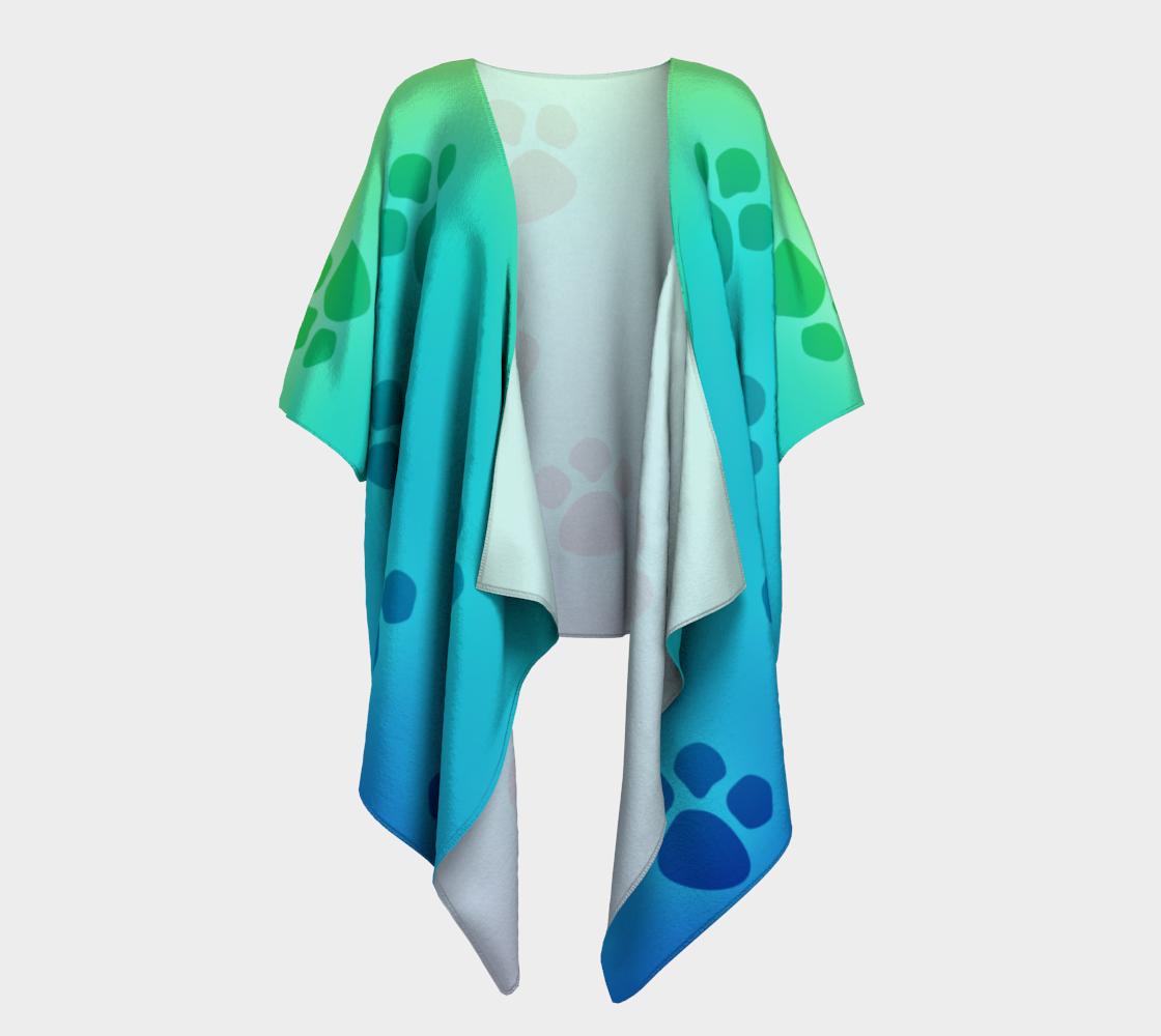 paw prints green to blue draped kimono preview #1