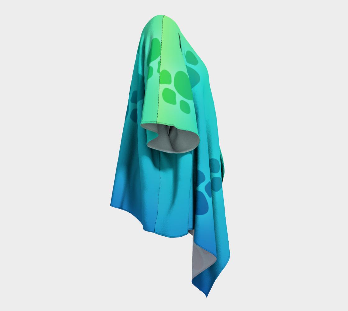 paw prints green to blue draped kimono preview #3