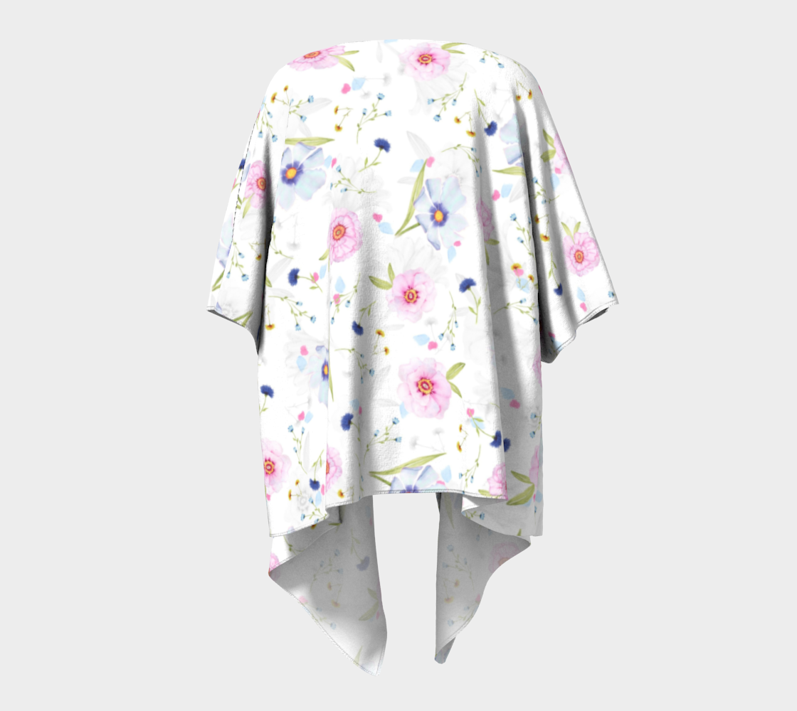 pink and blue floral draped kimono preview #4