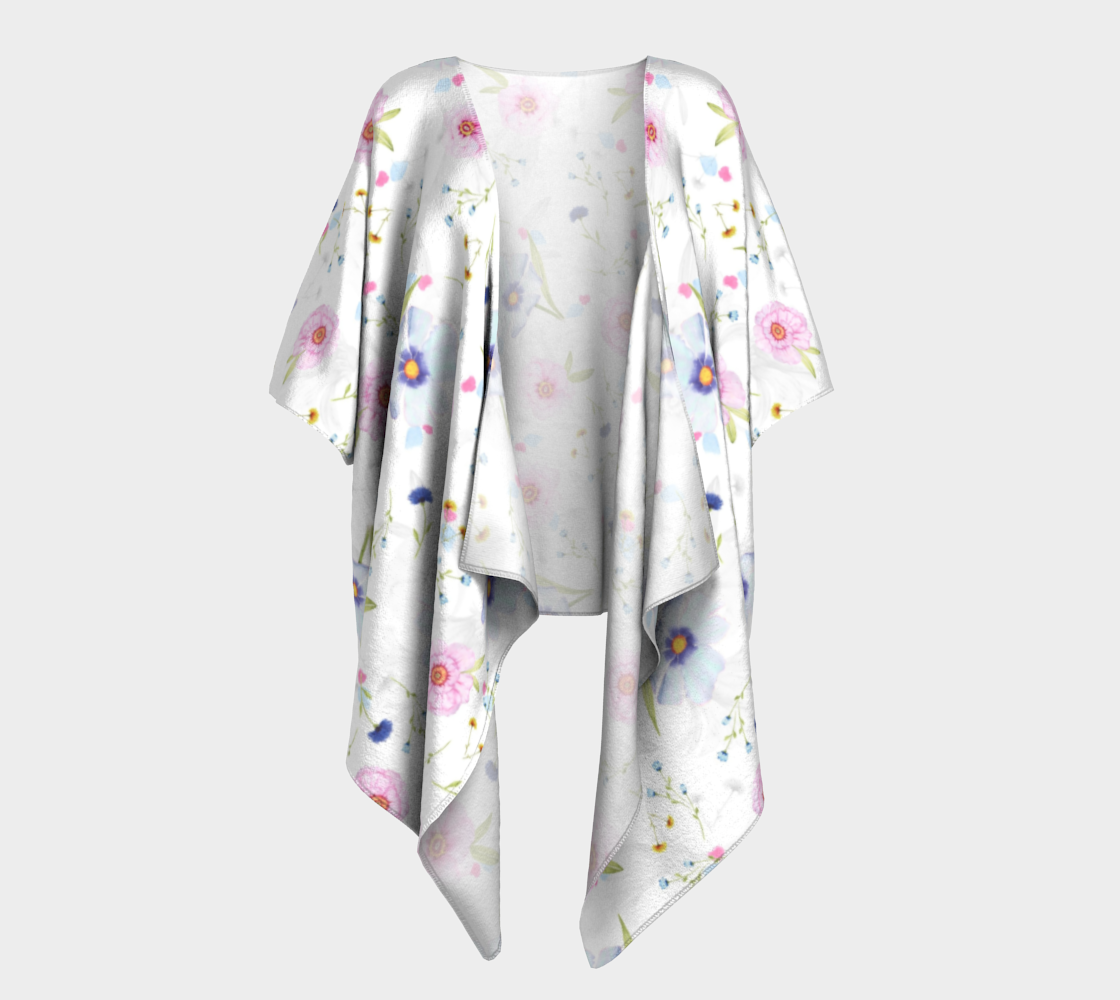 pink and blue floral draped kimono preview #1