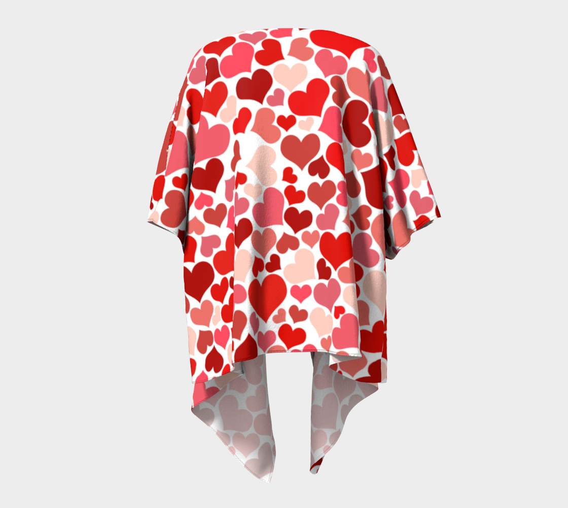 pink and red valentines love hearts draped kimono preview #4