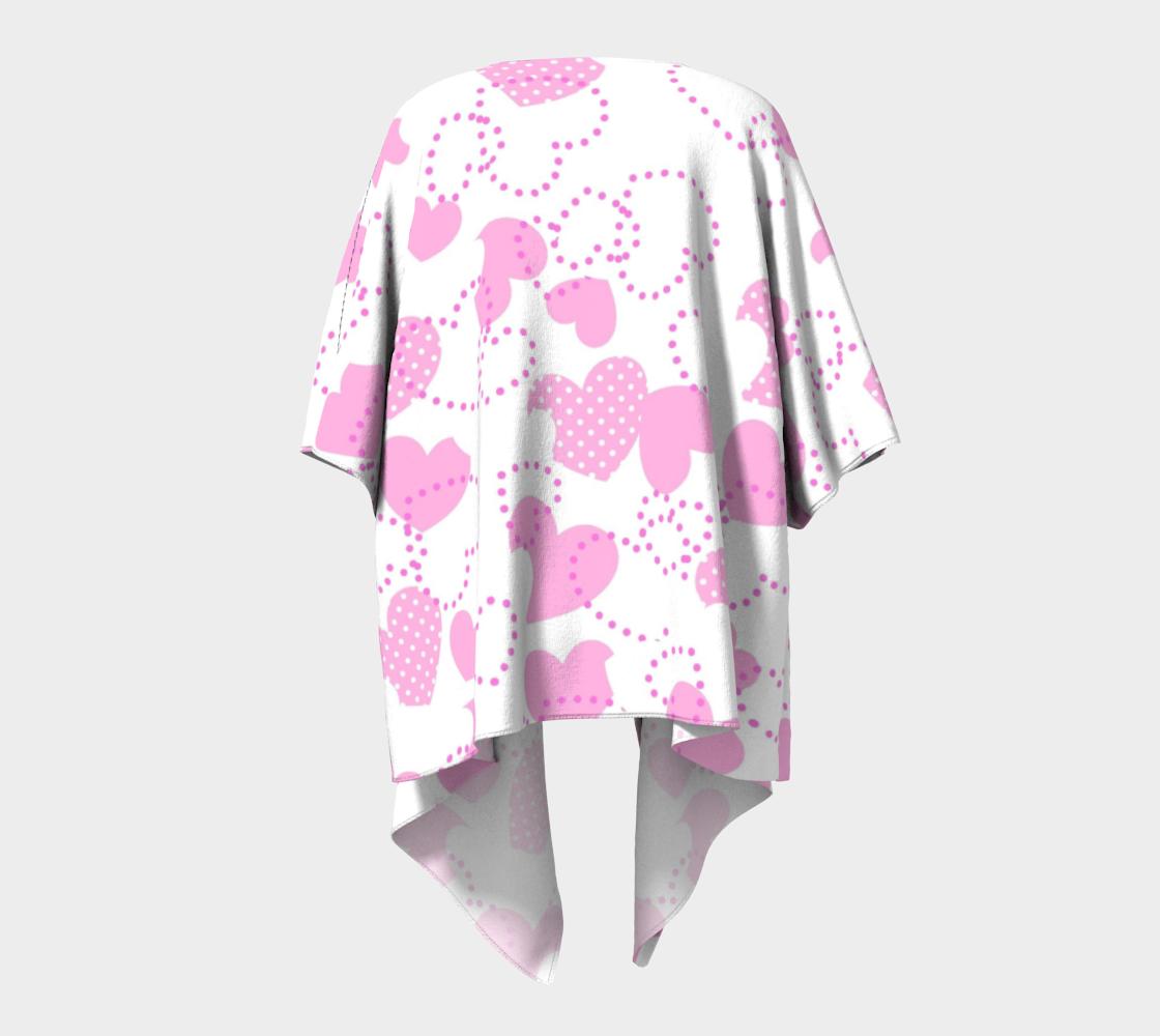 pink dotted hearts valentine draped kimono preview #4