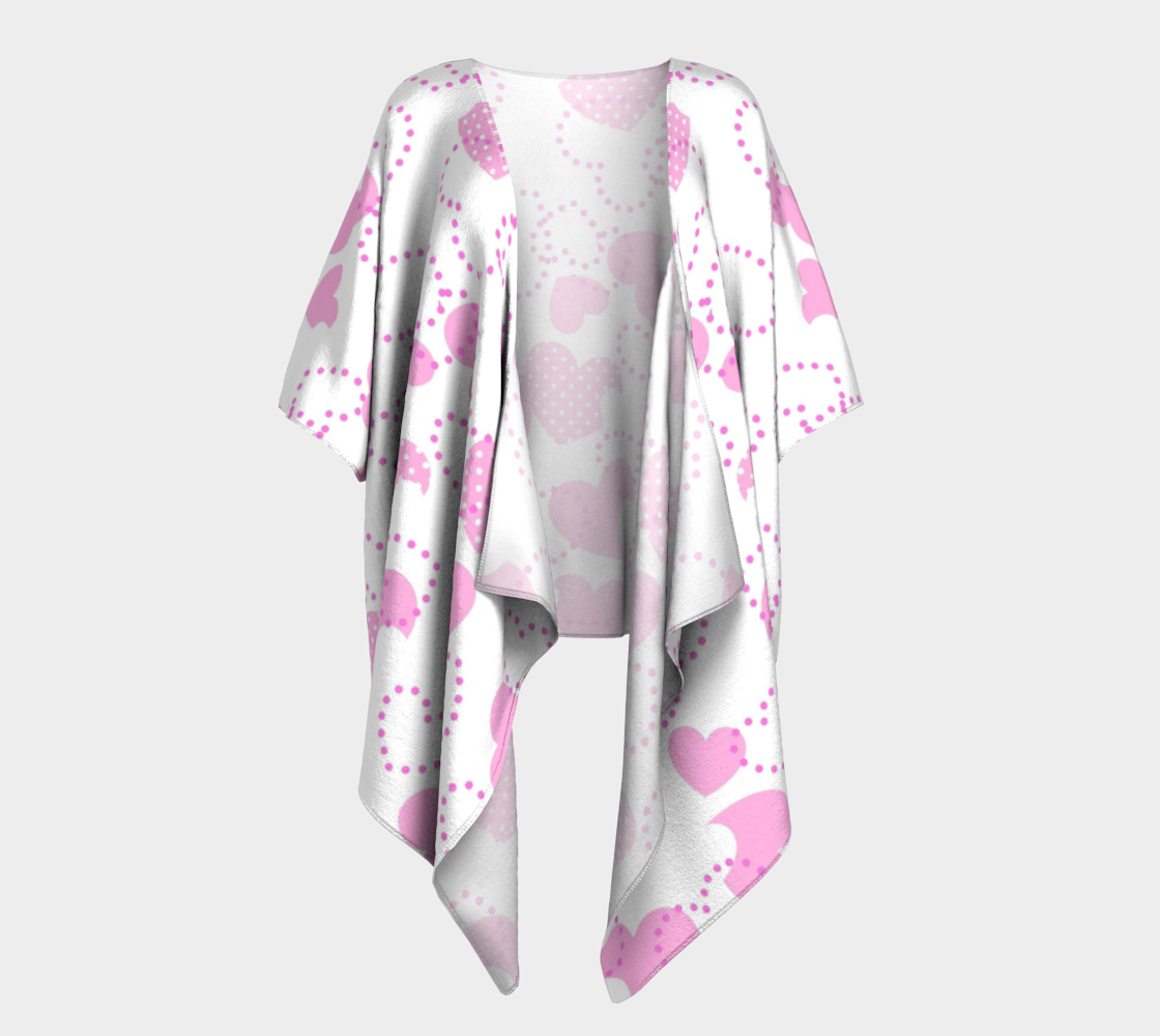 pink dotted hearts valentine draped kimono preview