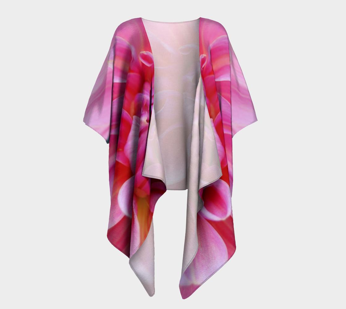 pink dahlia flower draped kimono preview #1