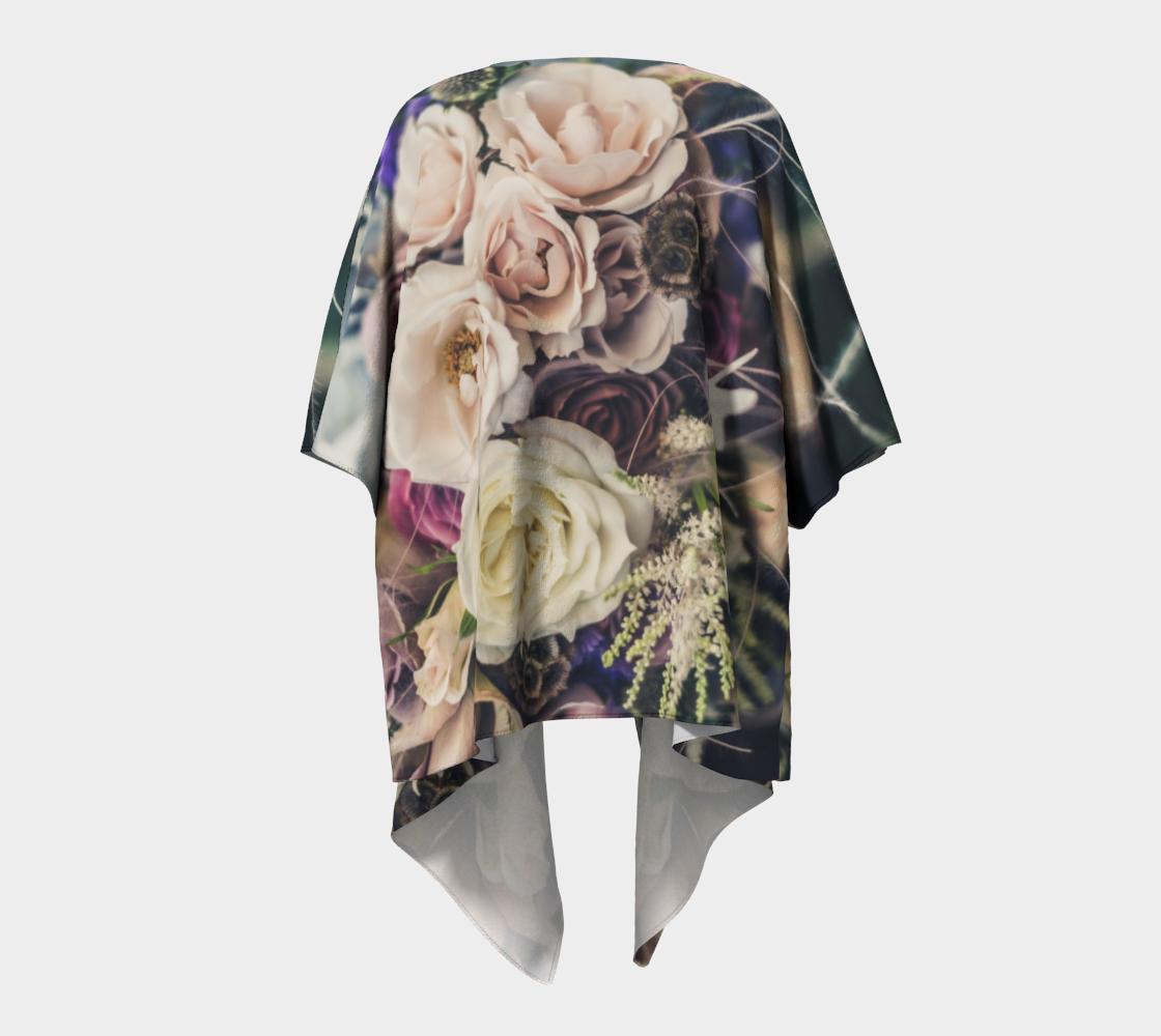 pink and white vintage roses draped kimono preview #4