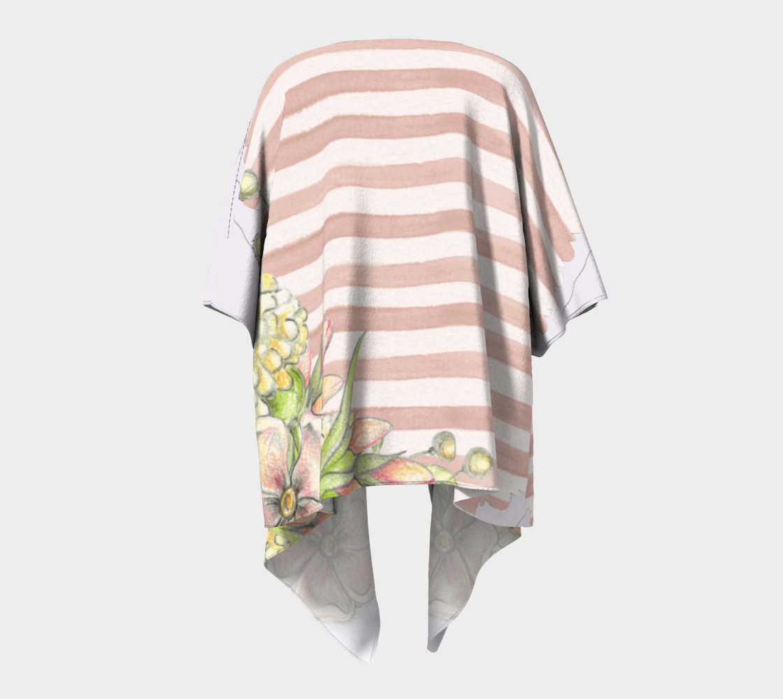 pink floral and stripes chic draped kimono preview #4