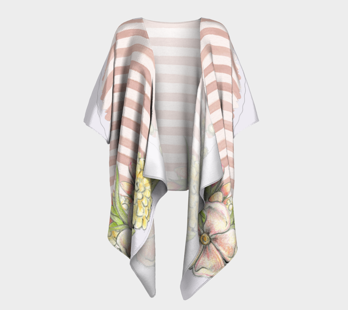 pink floral and stripes chic draped kimono preview #1