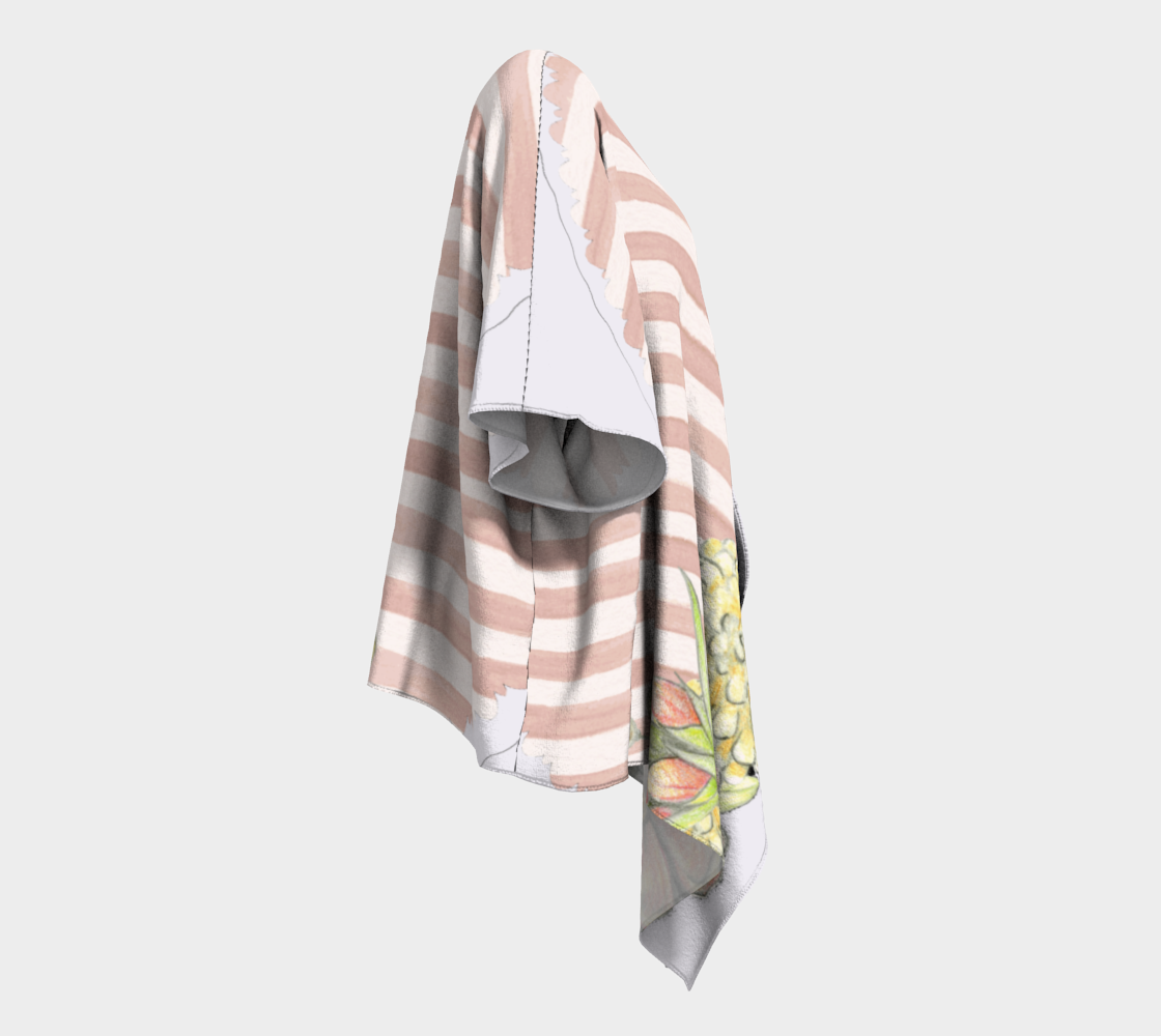 pink floral and stripes chic draped kimono preview #3