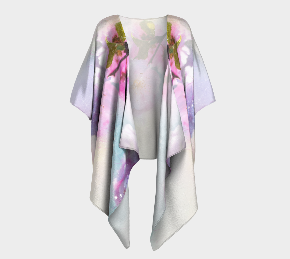 pink flowers in watercolor draped kimono preview