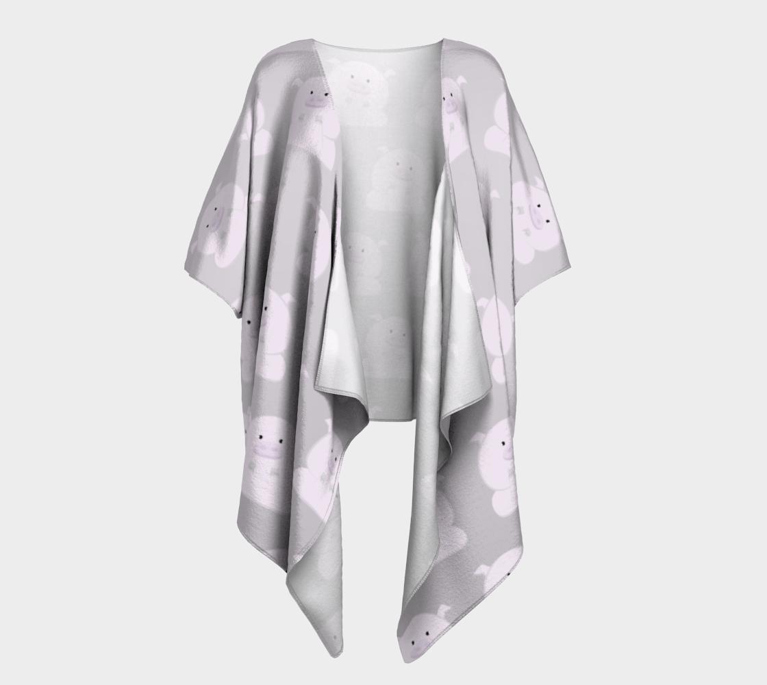 pink piggies on gray draped kimono preview