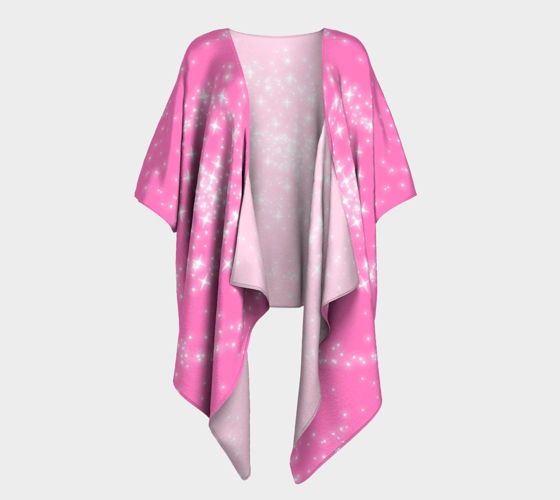 pink spiral sparkle galaxy draped kimono preview
