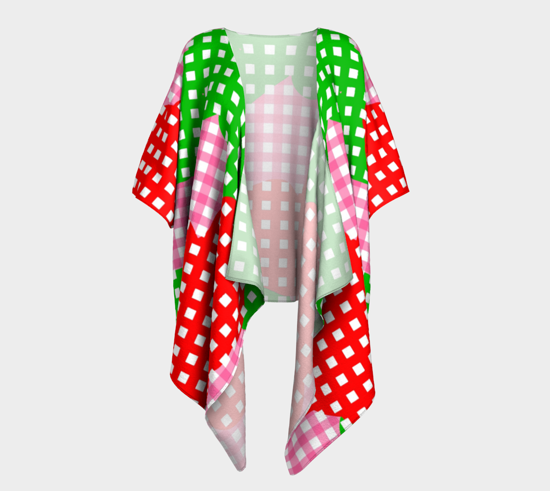 pink red green checered draped kimono preview