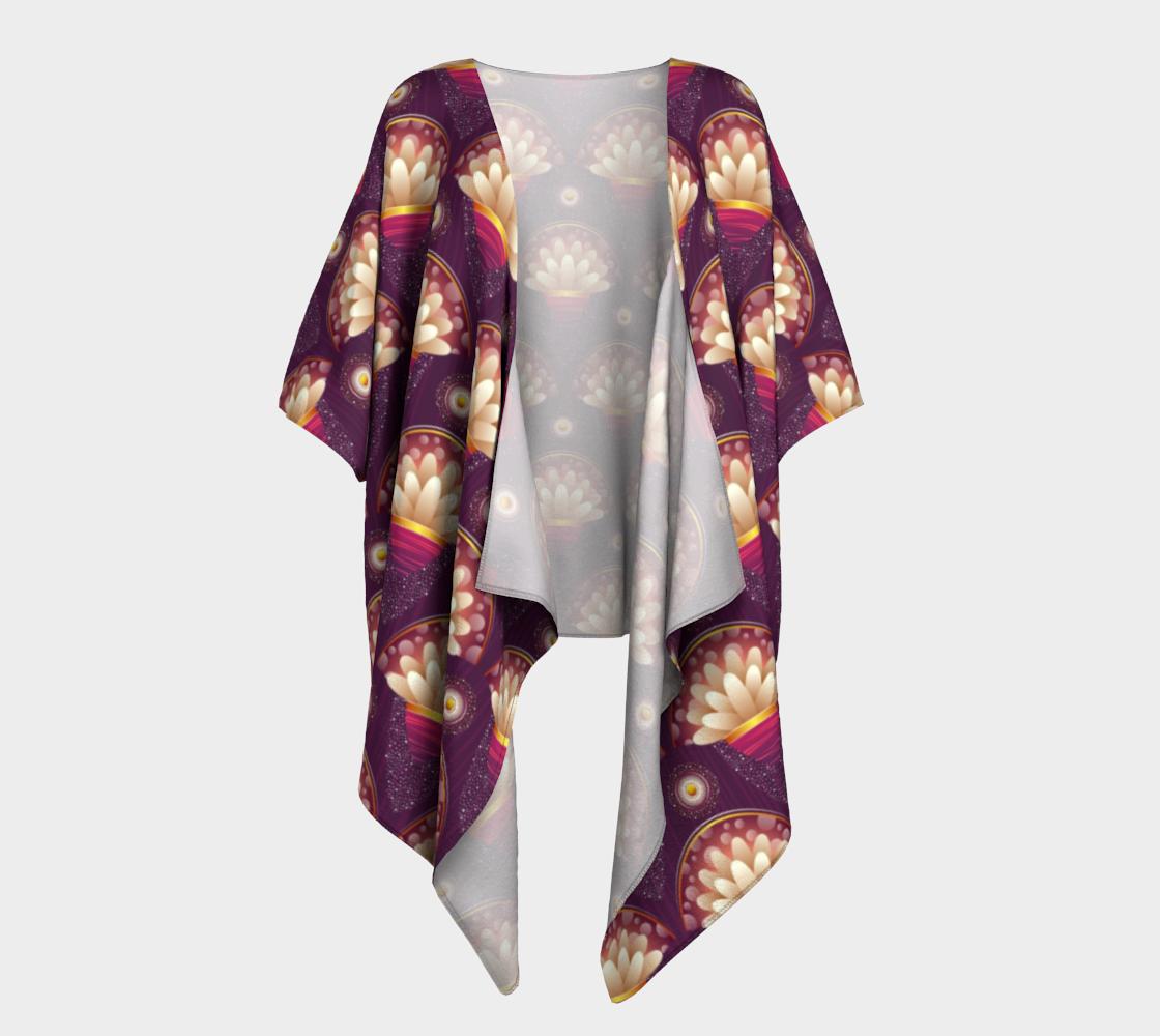 purple and beige scallop draped kimono preview