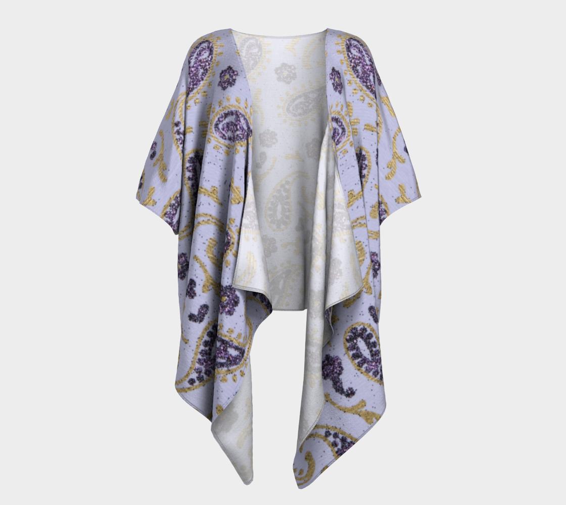 purple and gold paisley draped kimono preview