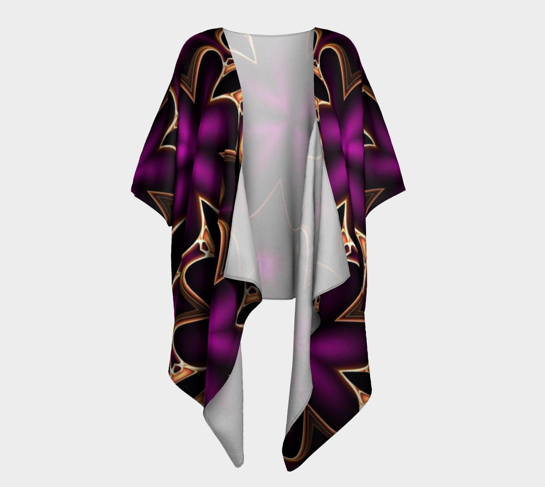 purple fractal flowers draped kimono preview