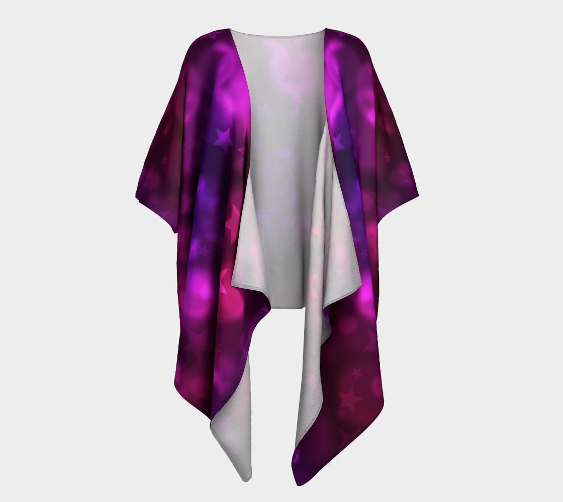 purple stars and bubbles draped kimono preview