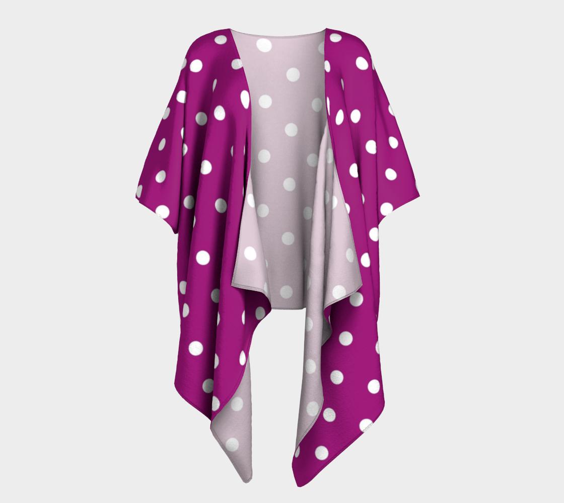 purple with white polka dots draped kimono preview