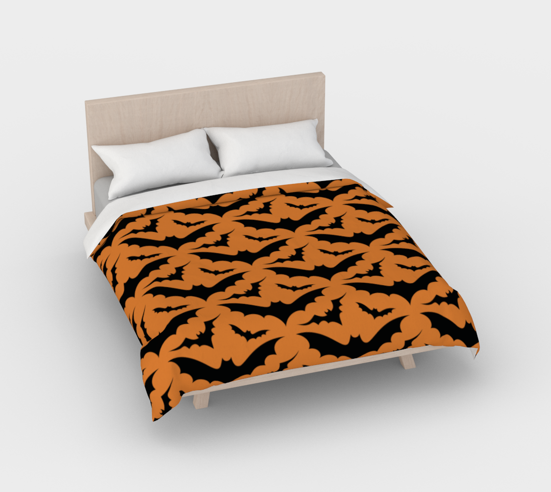 Orange Bats Duvet Cover preview #2