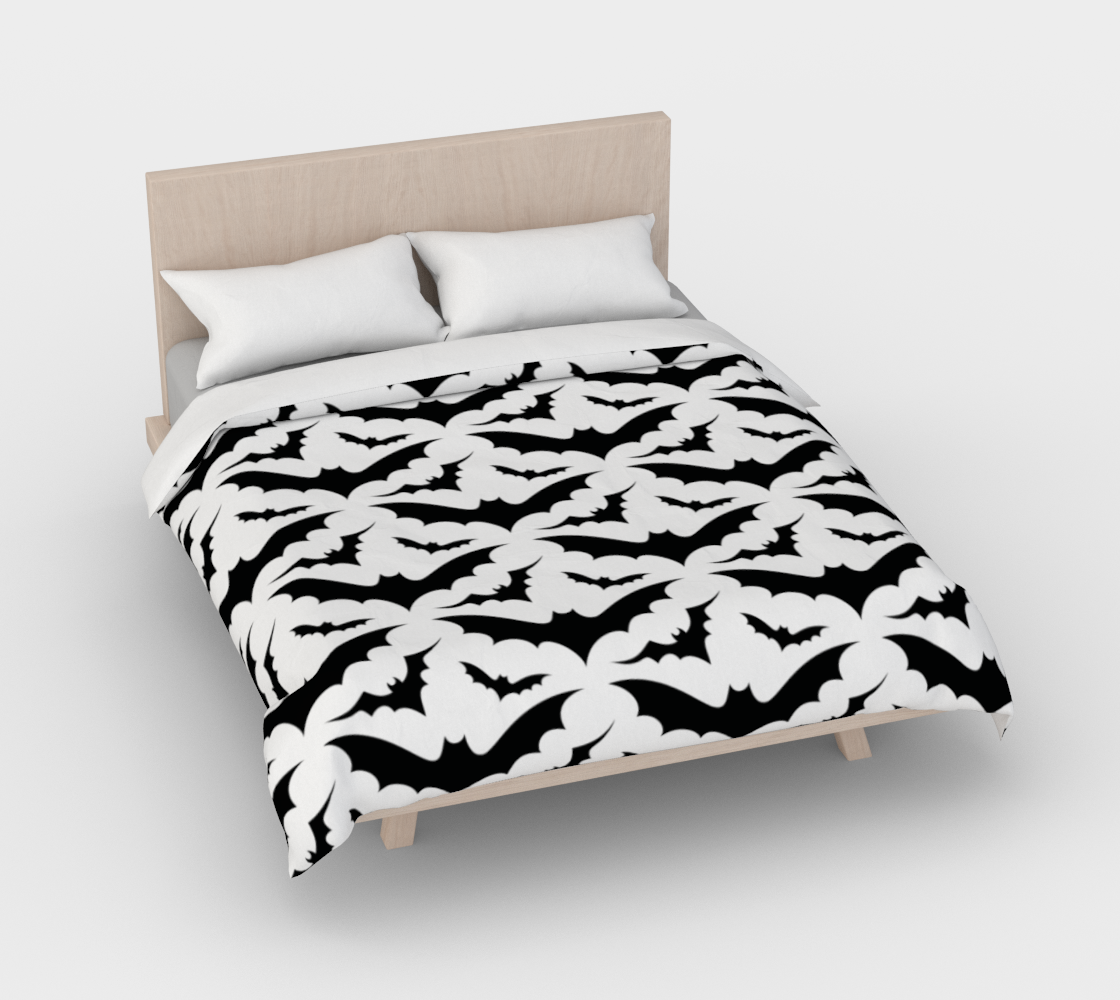 White Bats Duvet Cover 3D preview