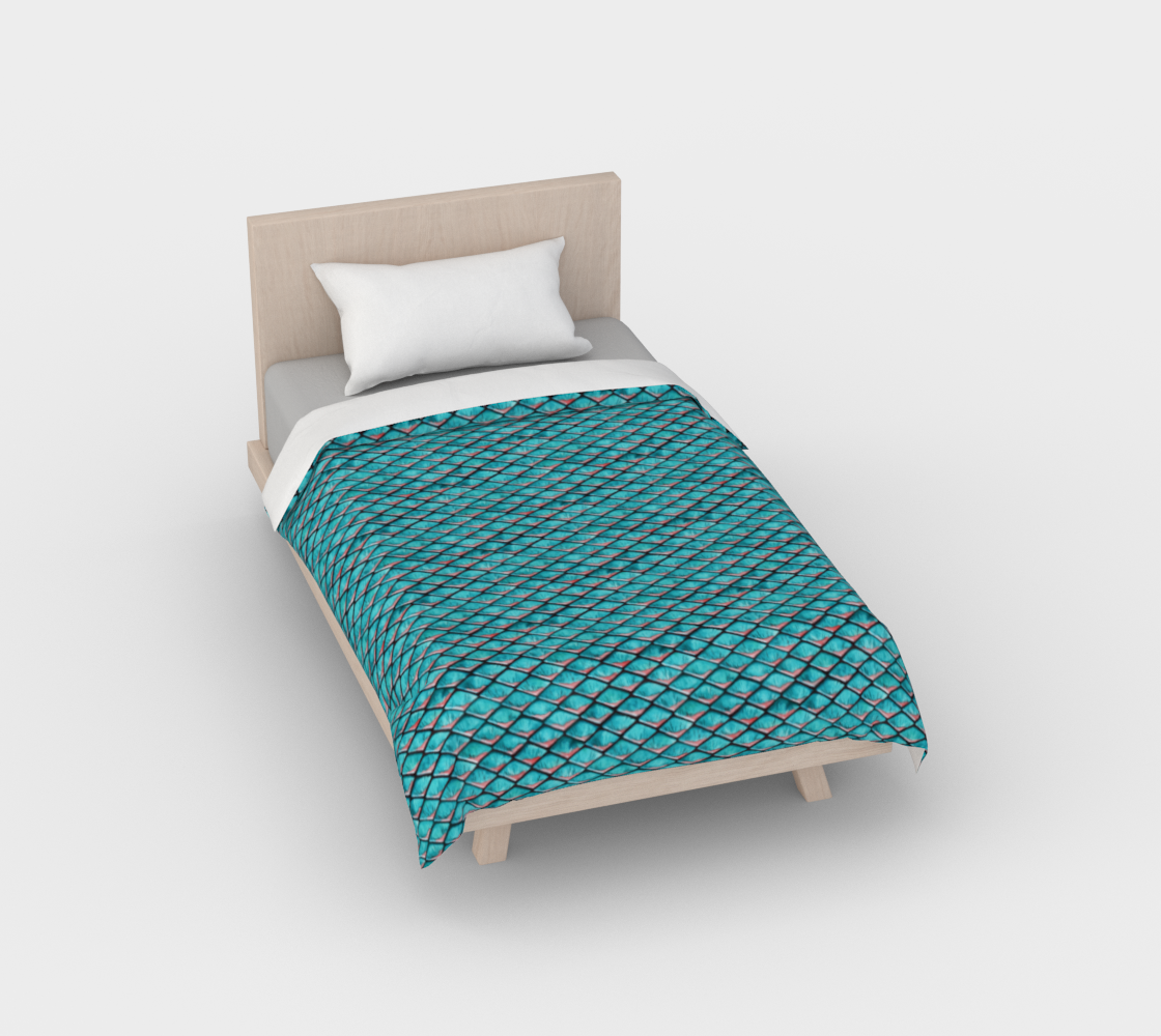 Teal blue and coral pink arapaima mermaid scales pattern Duvet Cover preview