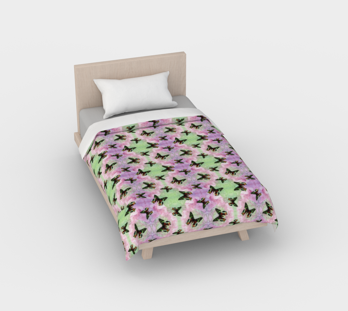 Urania Ripheus butterflies pattern Duvet Cover preview