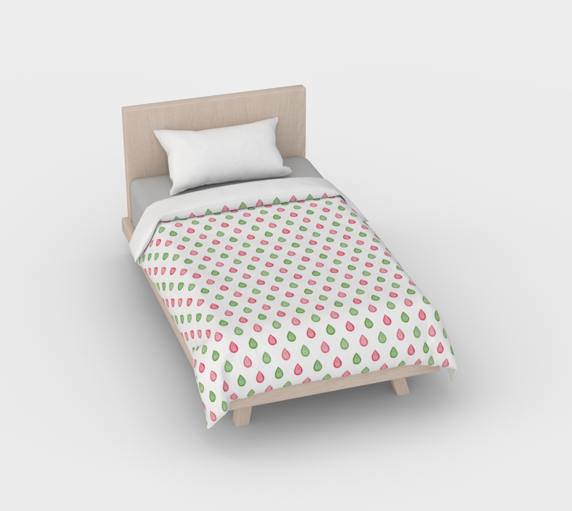 Pink and green raindrops Duvet Cover preview