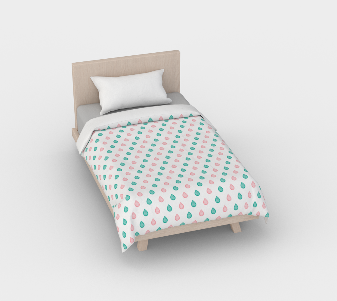 Teal blue and coral pink raindrops Duvet Cover preview