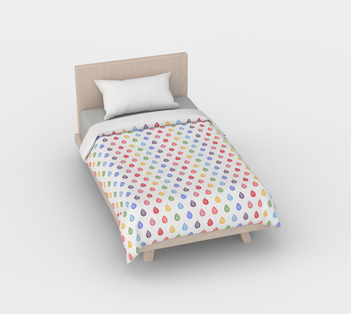 Rainbow raindrops Duvet Cover preview