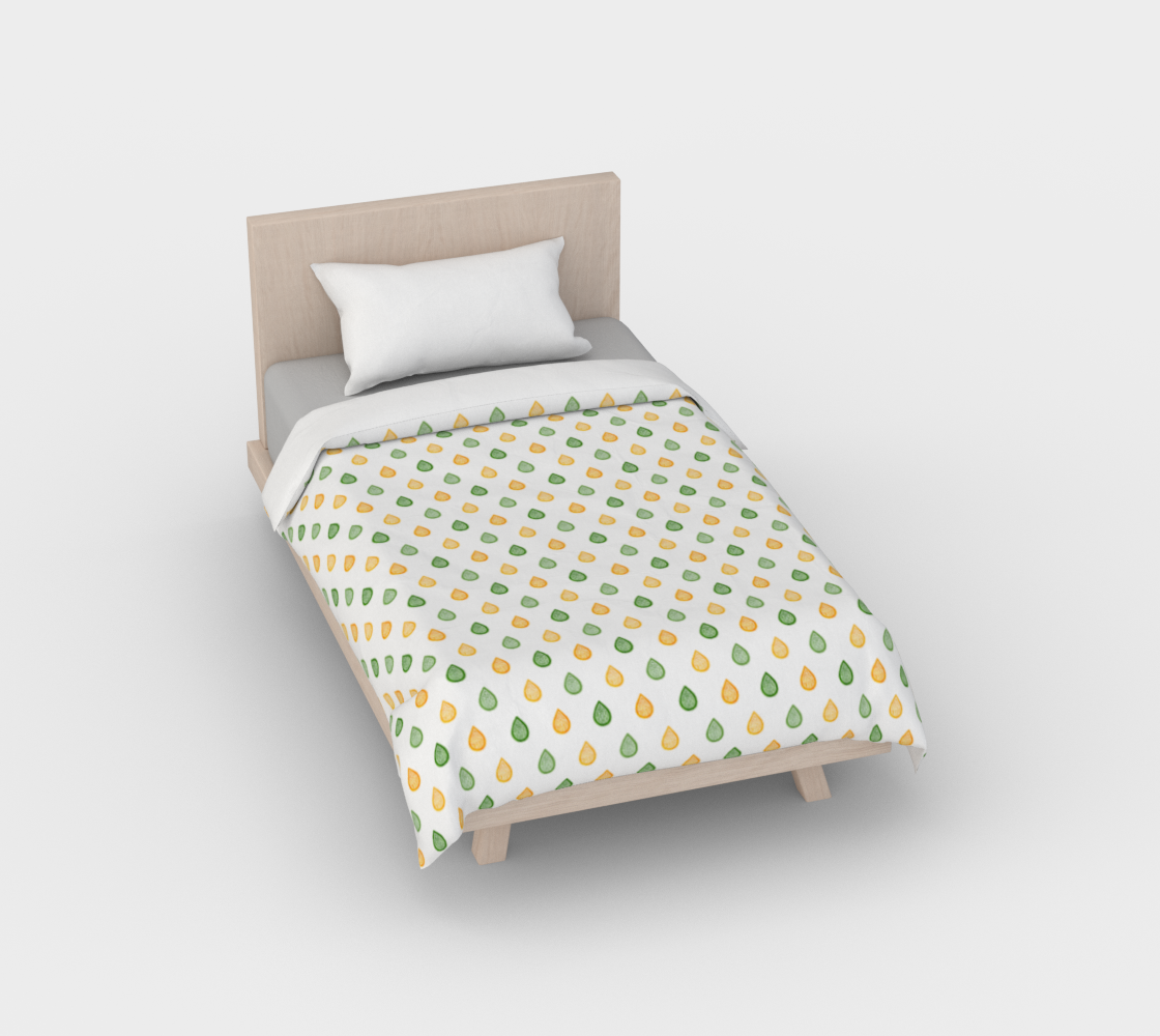 Yellow and green raindrops Duvet Cover preview