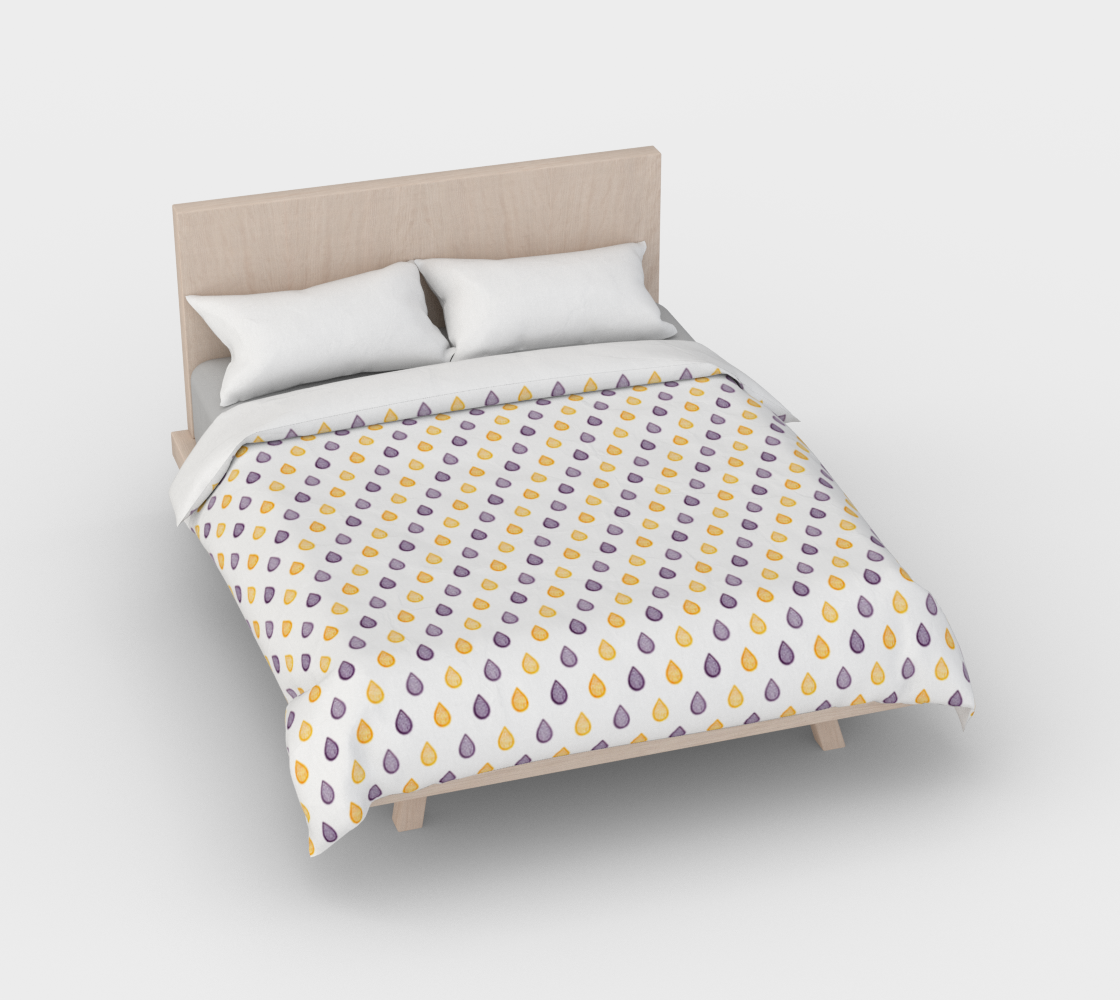 Purple and yellow raindrops Duvet Cover preview #2