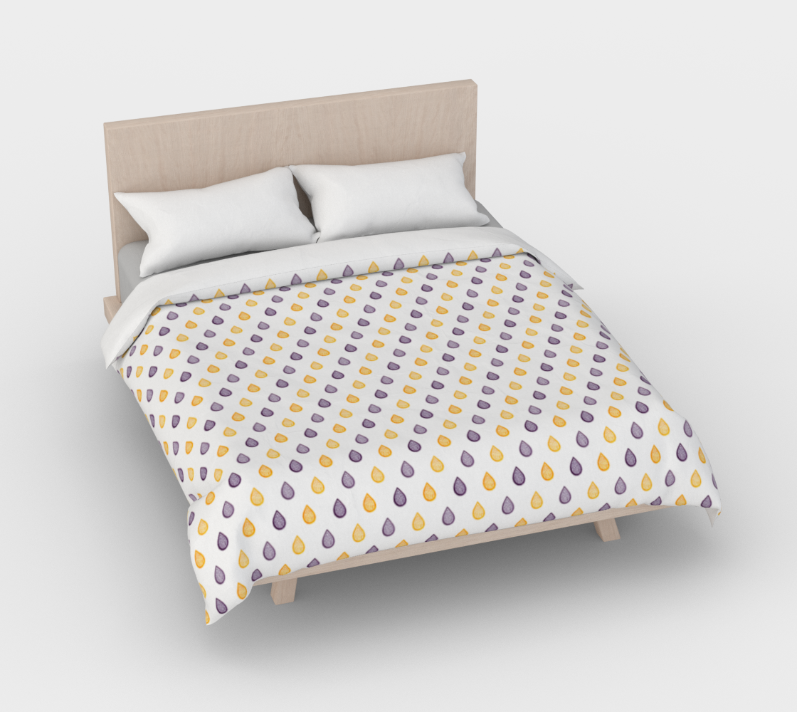 Purple and yellow raindrops Duvet Cover 3D preview