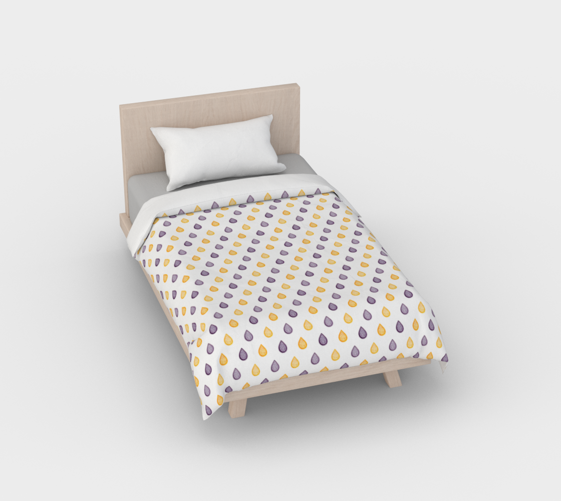 Purple and yellow raindrops Duvet Cover aperçu
