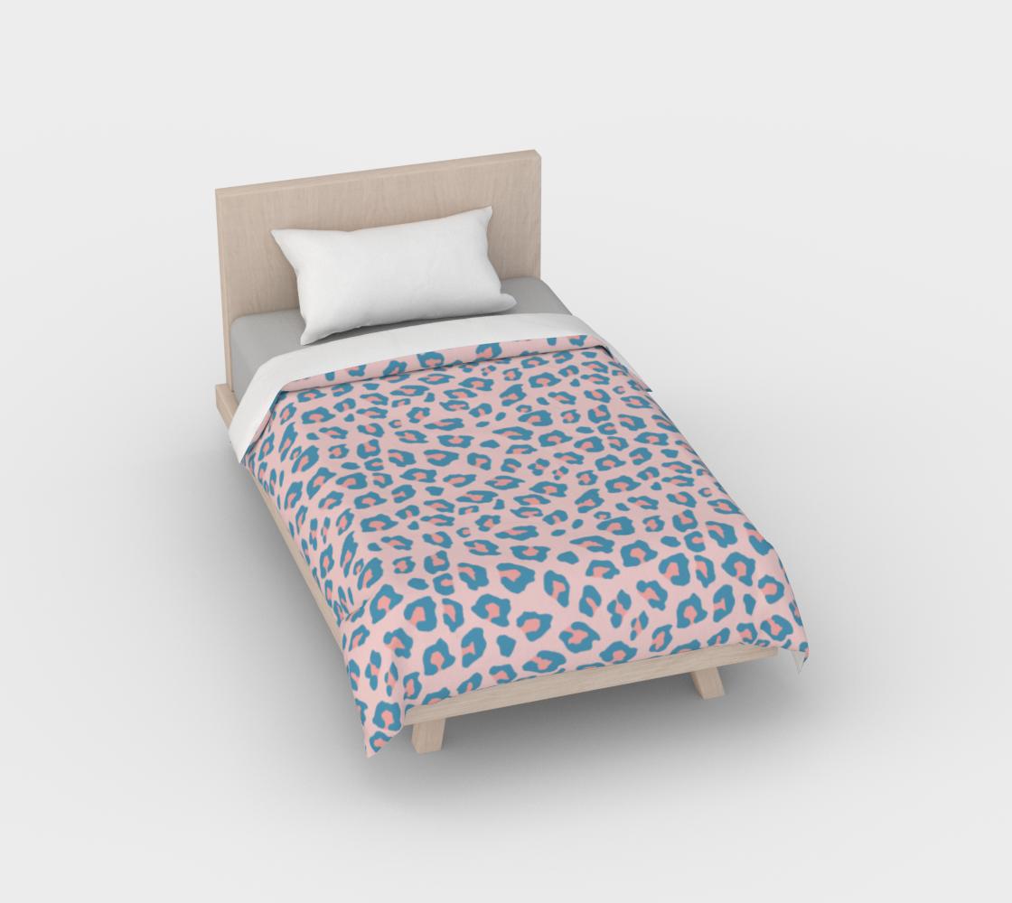 Leopard Print - Peachy Blue Duvet Cover aperçu
