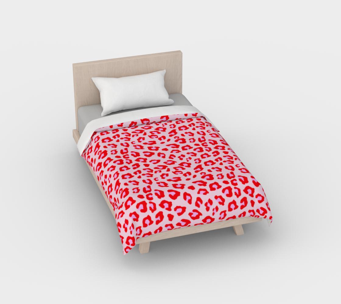 Leopard Print - Red and Pink Duvet Cover aperçu