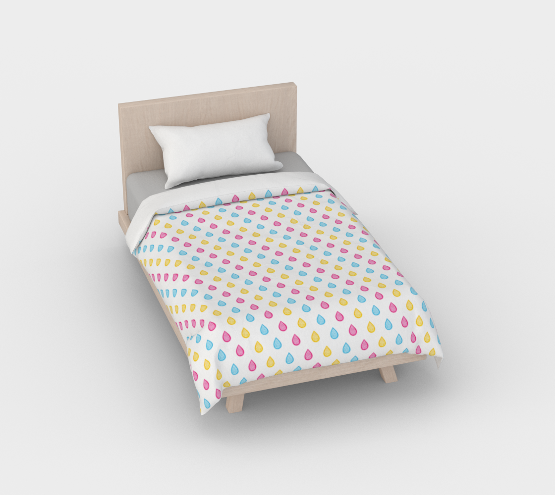 Pink, yellow and blue raindrops Duvet Cover preview