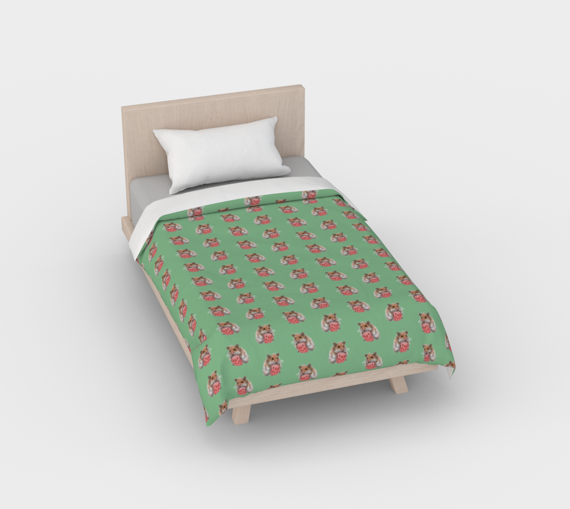 Golden hamster eating a slice of watermelon pattern Duvet Cover preview