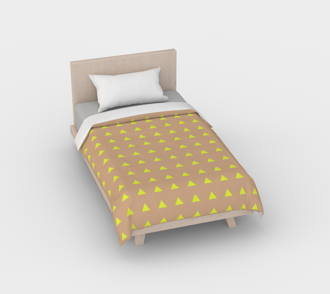 Neon Triangles - Yellow Duvet Cover preview