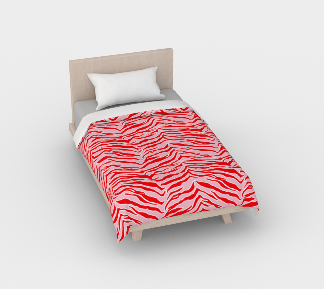 Tiger Print - Red and Pink Duvet Cover preview