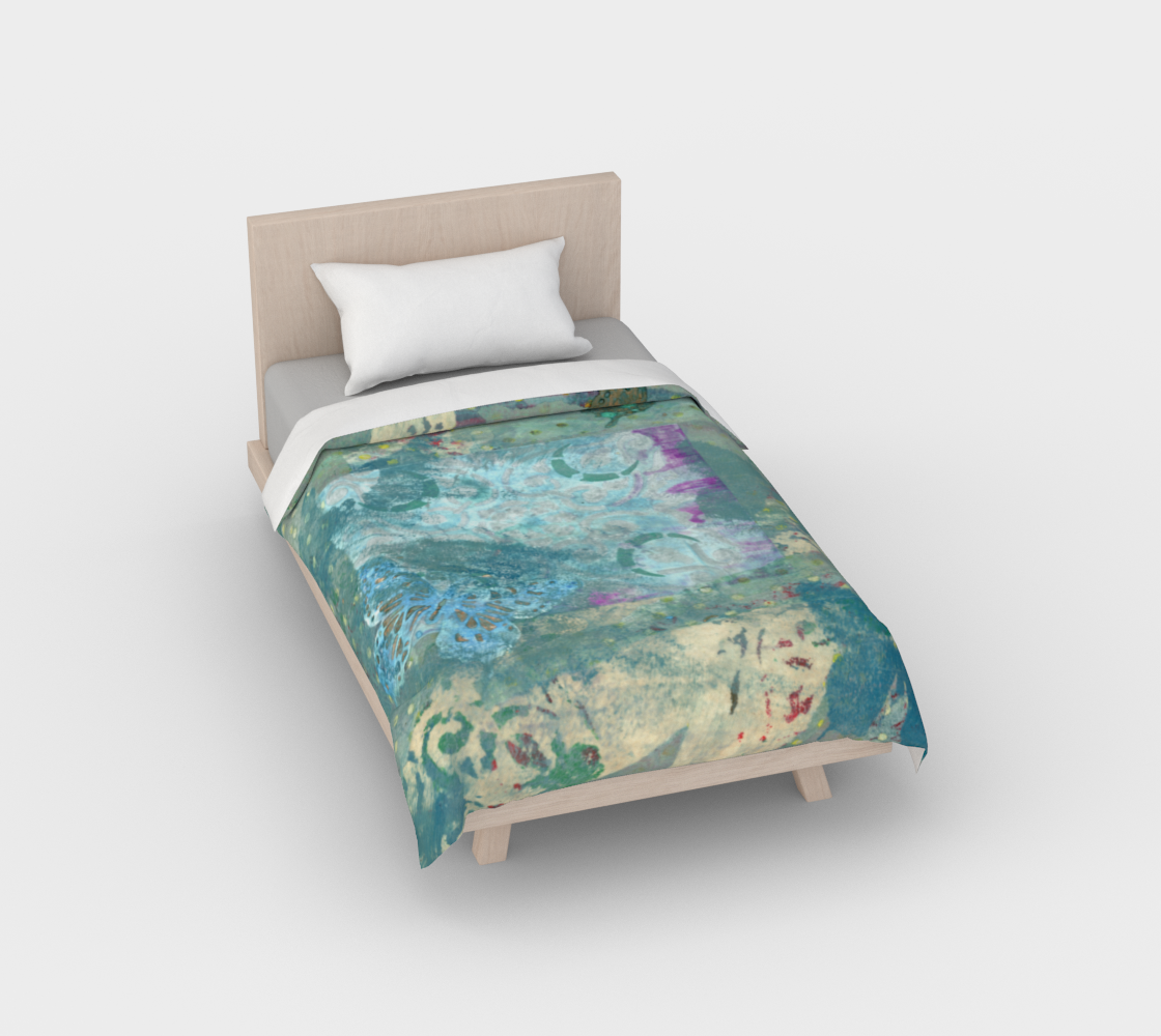 Duvet Cover*Butterfly Blue Green*Twin*Queen*Full*King*Collage Pattern Abstract preview