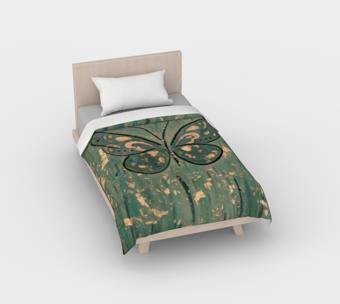 Duvet cover*Butterfly Green Copper*Bed Covering*Linens for King*Queen*Full*Twin preview