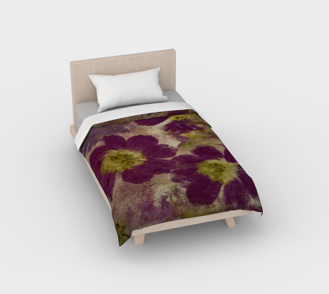Duvet Cover*Cosmos Petals Purple*Flowered Bed Linens*Bedding Floral Print preview
