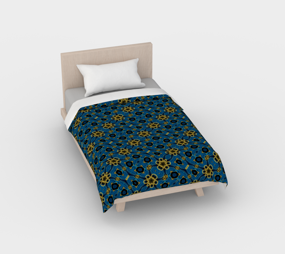Aperçu de Blue and Yellow Floral Print Duvet Cover
