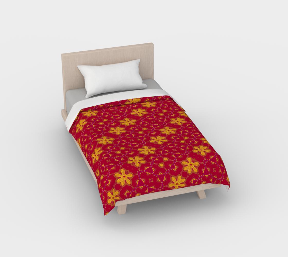 Aperçu de Boho Red and Yellow Floral Print Duvet Cover