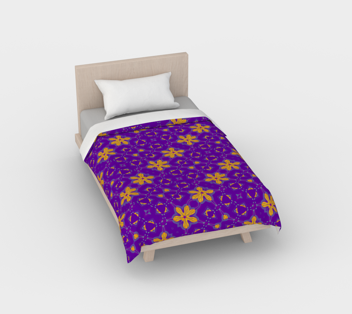 Aperçu de Yellow Flowers on Purple Duvet Cover