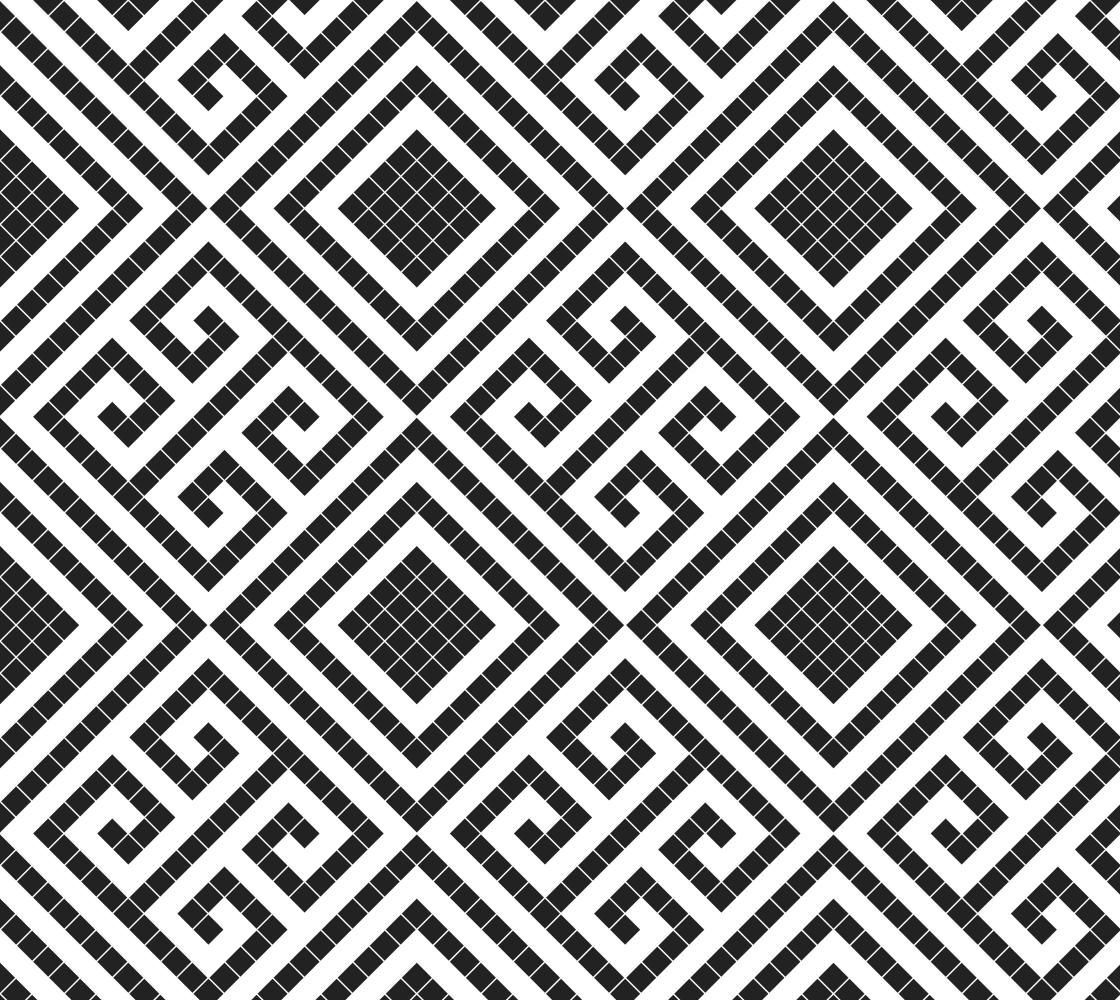 Greek style geometric pixel design diamonds black & white fabric preview