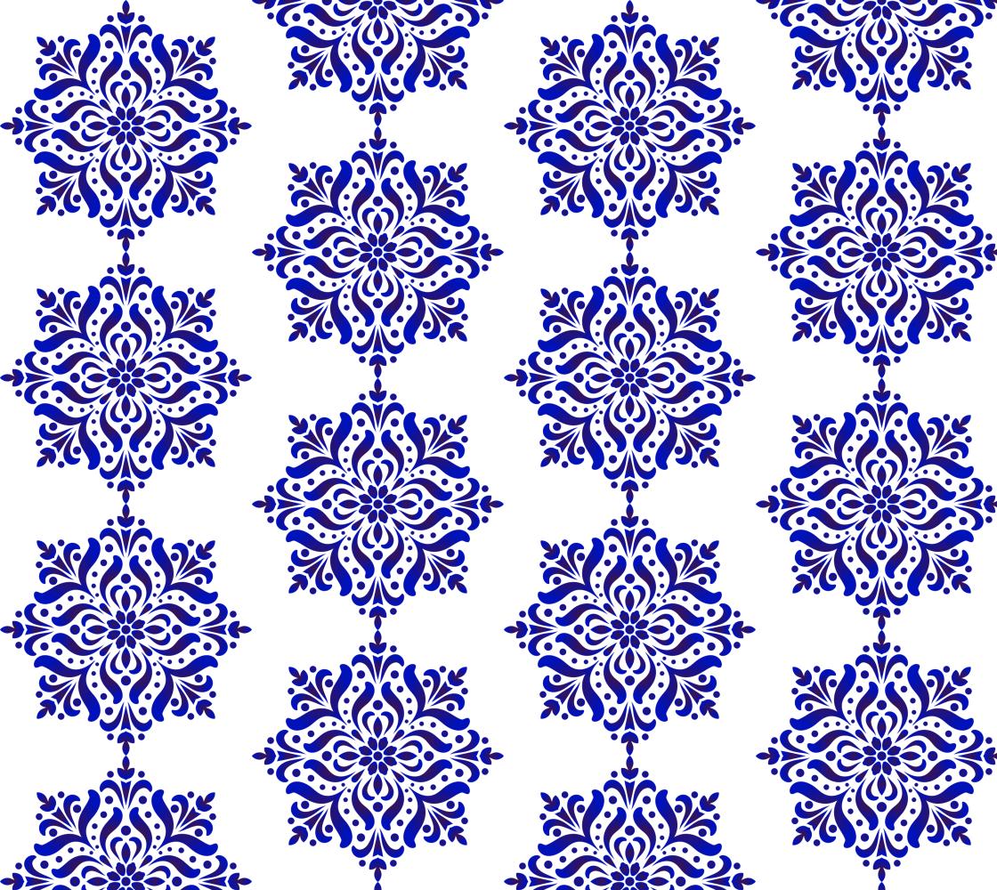 Aperçu de Blue and White Floral Damask