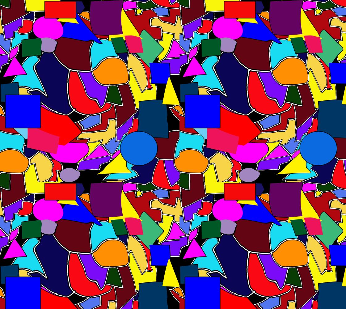 Aperçu de Colorful Shapes Collage Fabric
